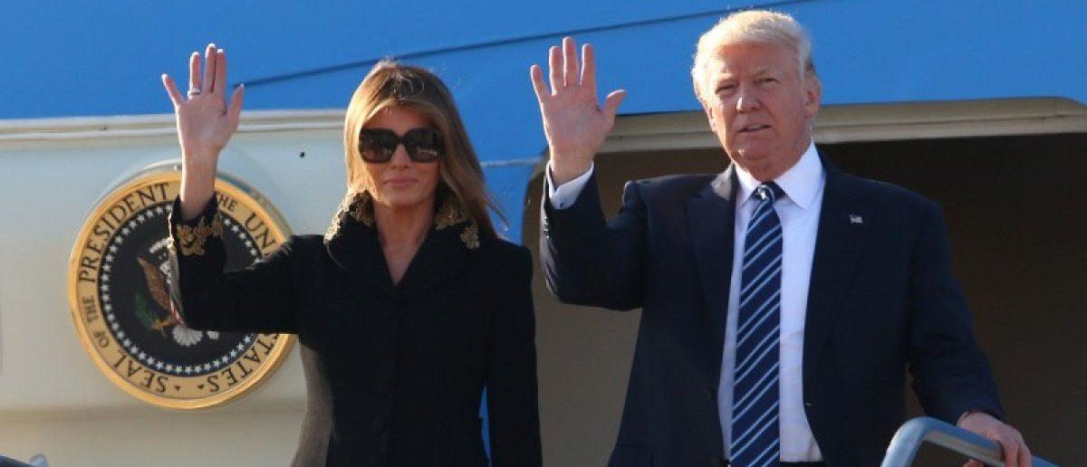 U.S. President Donald Trump and first lady Melania Trump arrive at the Leonardo da Vinci-Fiumicino Airport in Rome, Italy, May 23, 2017. REUTERS/Alessandro Bianchi