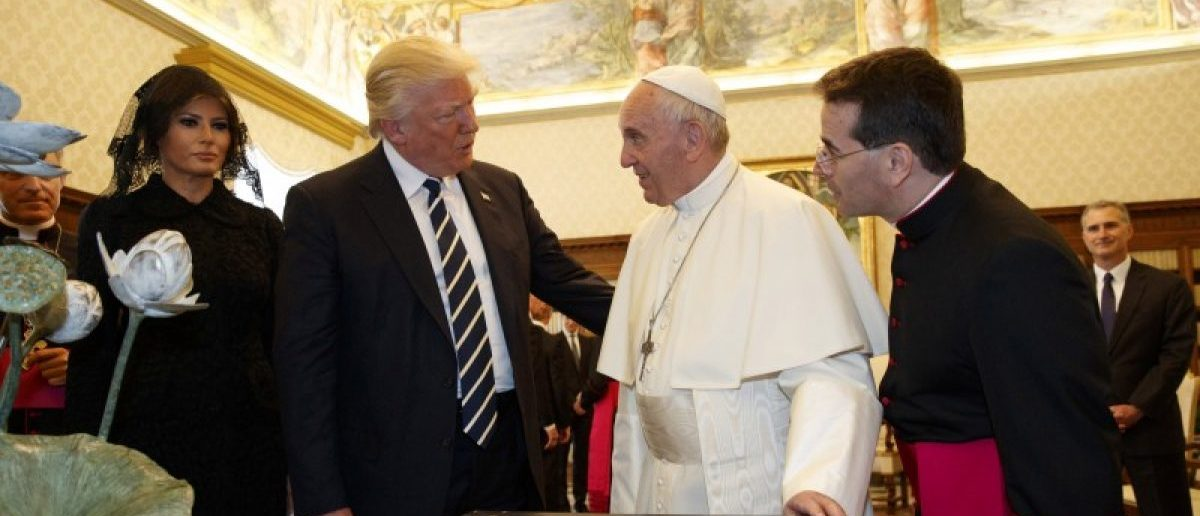 U.S. President Donald Trump and first lady Melania meet Pope Francis during a private audience at the Vatican