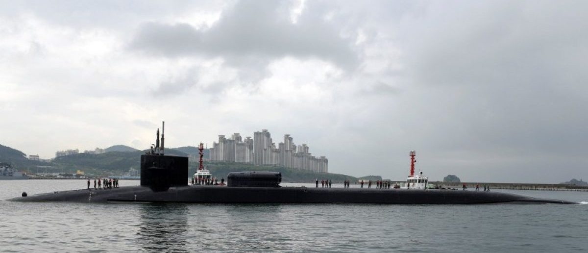 FILE PHOTO: The Ohio-class guided-missile submarine USS Michigan arrives for a regularly scheduled port visit while conducting routine patrols throughout the Western Pacific in Busan, South Korea, April 24, 2017. Jermaine Ralliford/Courtesy U.S. Navy/Handout via REUTERS