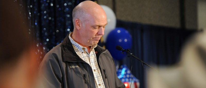 Representative elect Greg Gianforte apologizes for becoming invoved in an altercation with a reporter less than 24 hours before the special congressional election during his victory speech in Bozeman, Montana May 25, 2017, during a special congressional election called after former Rep. Ryan Zinke was appointed to lead the Interior Department. REUTERS/Colter Peterson