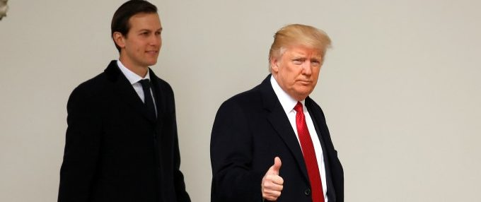 FILE PHOTO: U.S. President Donald Trump gives a thumbs-up as he and White House Senior Advisor Jared Kushner depart the White House in Washington, U.S., March 15, 2017. REUTERS/Kevin Lamarque/File Photo
