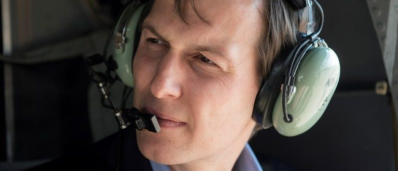 Jared Kushner, senior advisor and son-in-law to U.S. President Donald Trump takes a helicopter ride over Baghdad, Iraq, April 3, 2017.  DoD/Navy Petty Officer 2nd Class Dominique A. Pineiro/Handout via REUTERS