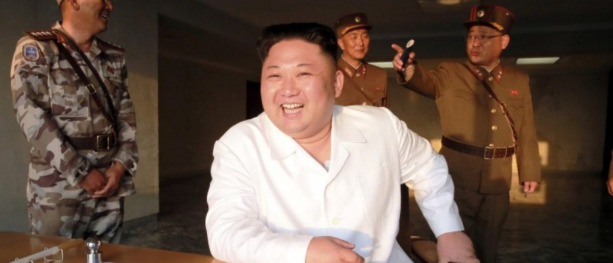 North Korean leader Kim Jong Un reacts during a ballistic rocket test-fire through a precision control guidance system in this undated photo released by North Korea's Korean Central News Agency (KCNA) May 30, 2017. KCNA/via REUTERS