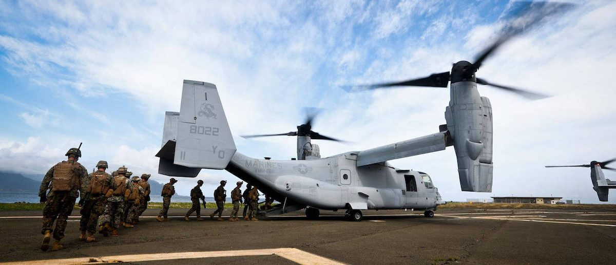 Marines with Alpha Company, 1st Battalion, 3rd Marine Regiment, board MV-22 Ospreys during a simulation of Operation Gotchic Serpent at landing zone Westfield, aboard MCB Hawaii, Dec. 10, 2016. Operation Gothic Serpent was a military operation conducted by U.S. special operations forces with the primary mission of capturing faction leader Mohamed Farrah Aidid. The operation occurred in Somalia, Africa, from August to October 1993.