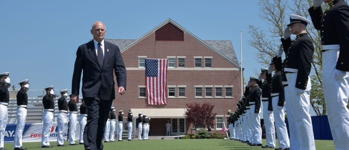 NEW LONDON, Conn. - Secretary of Homeland Security John Kelly introduces President Donald Trump who delivered the commencement address to 199 cadets during the 136th U.S. Coast Guard Academy Commencement in New London, Connecticut, May 17, 2017. Each year, the president delivers the commencement address at one of the U.S. military service academies. This was the first time President Trump addressed a service academy graduating class as commander in chief. Official DHS photo by Jetta Disco.