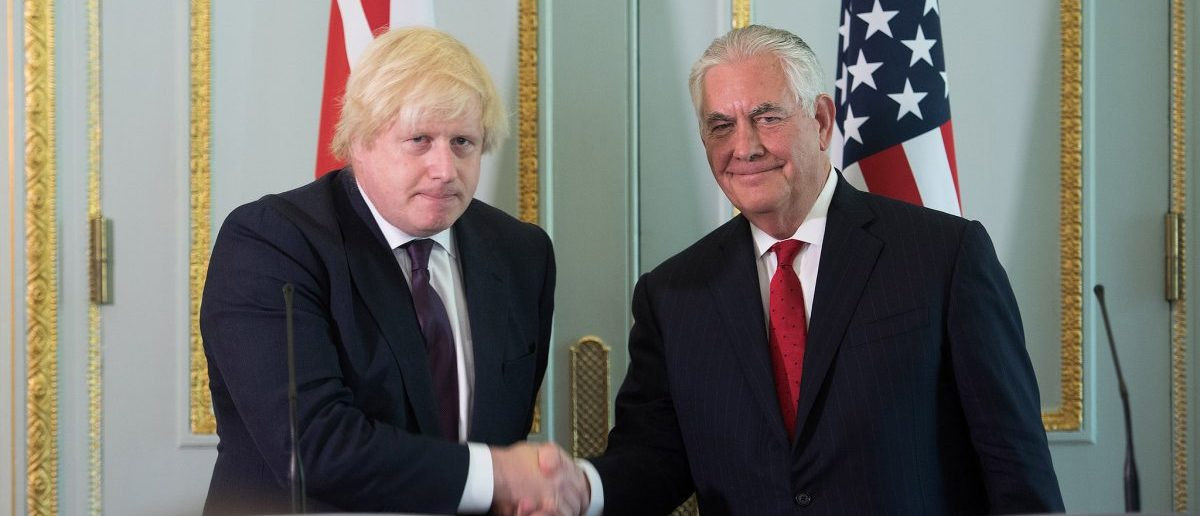 U.S. Secretary of State Rex Tillerson and British Foreign Secretary Boris Johnson address reporters gathered in Carlton House in London, United Kingdom, on May 26, 2017. [State Department photo/ Public Domain]