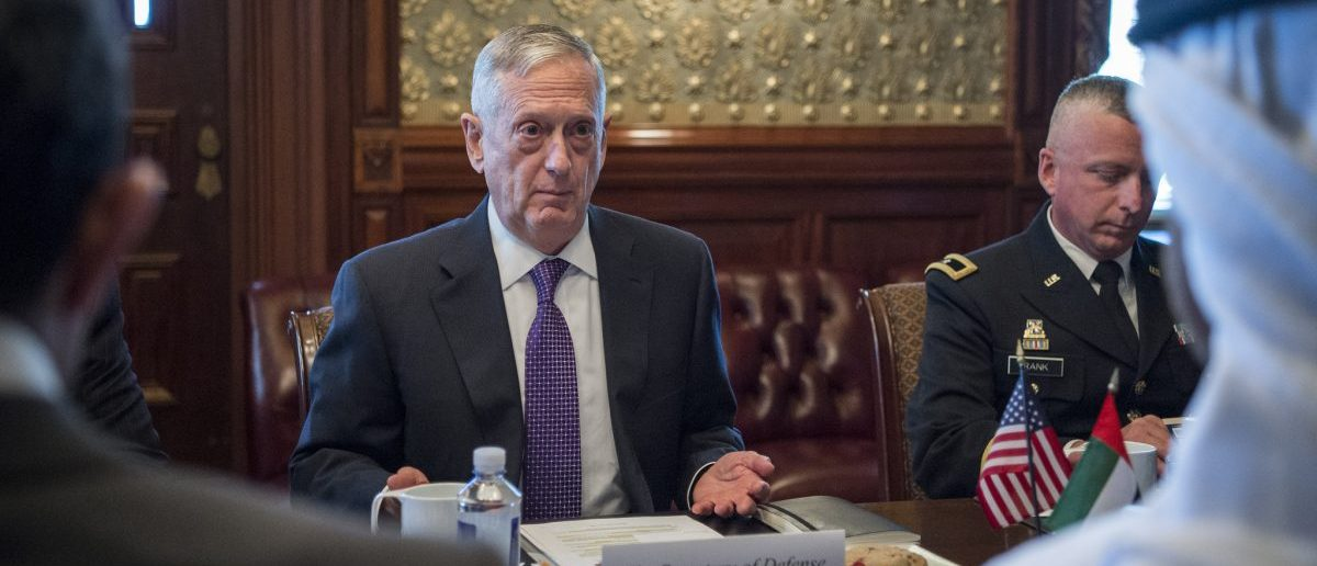 Secretary of Defense Jim Mattis meets with Abu Dhabi's Crown Prince Mohammed bin Zayed Al Nahyan at the Eisenhower Executive Office Building in Washington, D.C., May 15, 2017. The meeting came after the crown prince's inaugural meeting. (DOD photo by U.S. Air Force Tech. Sgt. Brigitte N. Brantley)