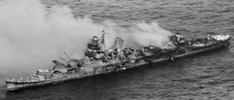 Smoke envelopes a Japanese Navy heavy cruiser of the Mogami Class after it was bombed by U.S. Navy aircraft during the Battle of Midway. Photo: Getty