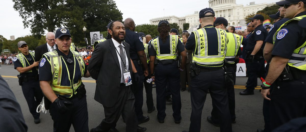 U.S. Rep. Al Green (D-TX) is detained during a protest calling for comprehensive immigration reform outside the U.S. Capital Building in Washington October 8, 2013. REUTERS/Jason Reed