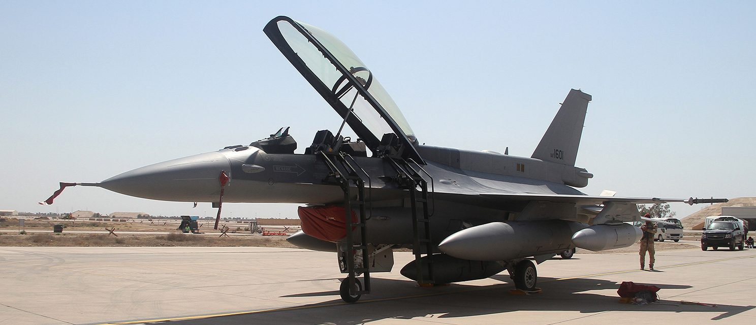 U.S. F-16 fighter jet arrives at a military base in Balad, north of Baghdad July 13, 2015. On Monday, a first batch of four F-16s landed at Balad air base north of Baghdad, an Iraqi air force officer said. Authorities said the planes would join operations in Anbar within days. (PHOTO: REUTERS/Stringer)