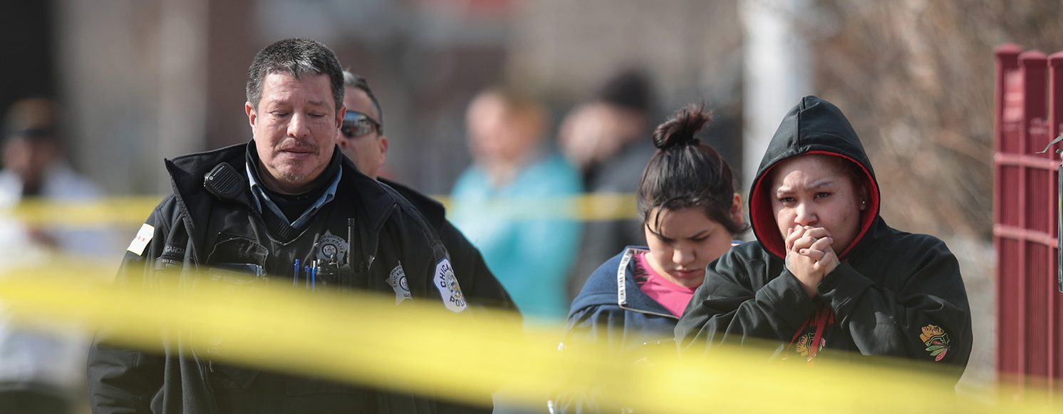 Police investigate the scene of a double homicide after two people were discovered shot inside an apartment on the morning of February 6, 2017 in Chicago, Illinois.  (PHOTO: Scott Olson/Getty Images)