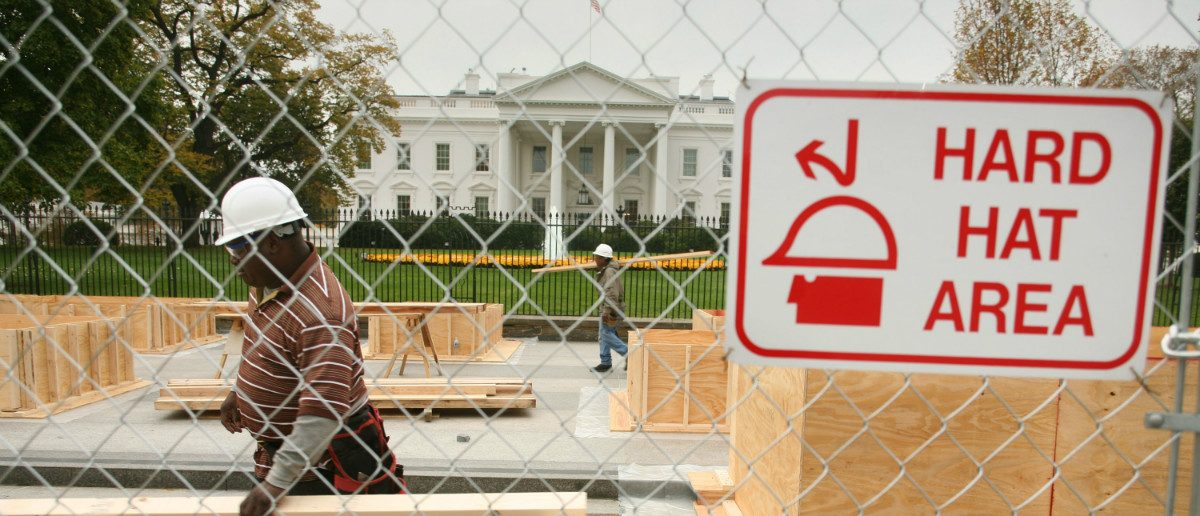 Workers begin initial construction of the presidential reviewing stand November 6, 2008 for upcoming Inauguration Day ceremonies. (Reuters/Mitch Dumke.)