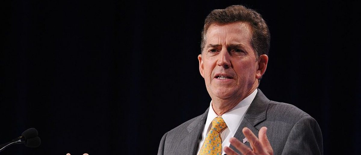 US Senator Jim DeMint, R-SC, speaks during The Family Research Council (FRC) Action Values Voter Summit September 14, 2012 at a hotel in Washington, DC. The summit is an annual political conference for US social conservative activists and elected officials. AFP PHOTO/Mandel NGAN (Photo credit should read MANDEL NGAN/AFP/GettyImages)