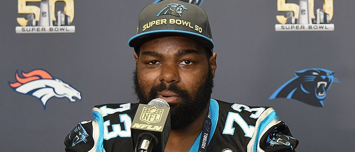Tackle Michael Oher #73 of the Carolina Panther addresses the media prior to Super Bowl 50 at the San Jose Convention Center/ San Jose Marriott on February 2, 2016 in San Jose, California. (Photo by Thearon W. Henderson/Getty Images)