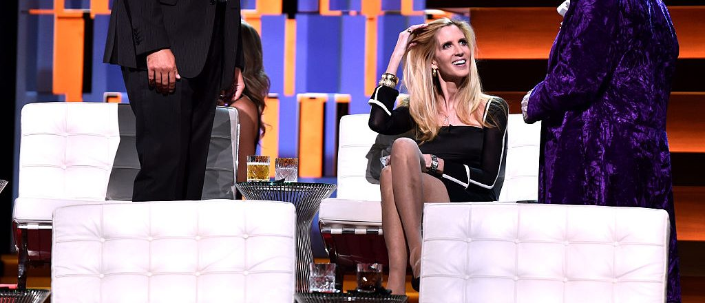 Actor Rob Riggle, political commentator/author Ann Coulter and comedian Jeffrey Ross onstage at The Comedy Central Roast of Rob Lowe at Sony Studios on August 27, 2016 in Los Angeles, California. The Comedy Central Roast of Rob Lowe will premiere on September 5, 2016 at 10:00 p.m. ET/PT. (Photo by Alberto E. Rodriguez/Getty Images)