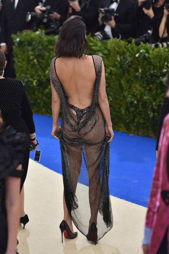 Kendall Jenner wasn't hiding much with that dress. (Photo credit: Getty Images)