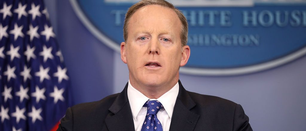 WASHINGTON, DC - MAY 09: White House Press Secretary Sean Spicer conducts the daily news conference in the Brady Press Briefing Room at the White House May 9, 2017 in Washington, DC. Spicer took questions about former acting Attorney General Sally Yates' testimony in Congress. (Photo by Chip Somodevilla/Getty Images)