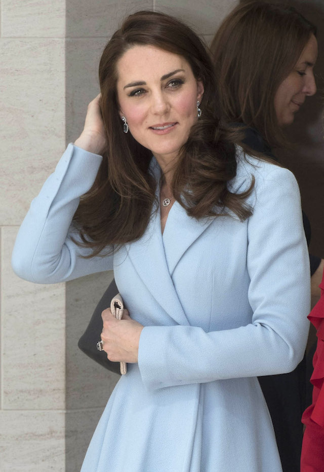 LUXEMBOURG - MAY 11: Catherine, Duchess of Cambridge visits the Grand Duke Jean Museum of Modern Art (MUDAM) to view exhibitions by British artists Sir Tony Cragg and Darren Almond during a one day visit on May 11, 2017 in Luxembourg. The Duchess is participating in the official commemoration of the 1867 Treaty of London and will attend a series of engagements to celebrate the cultural and historic ties between the UK and Luxembourg. (Photo by Paul Edwards - WPA Pool/Getty Images)