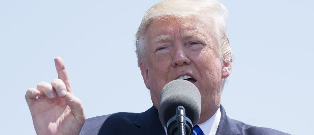 US President Donald Trump speaks during the US Coast Guard Academy Commencement Ceremony in New London, Connecticut, May 17, 2017. SAUL LOEB/AFP/Getty Images