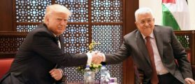 BETHLEHEM, WEST BANK - MAY 23: In this handout image provided by the Palestinian Press Office (PPO) Palestinian president Mahmoud Abbas meets US President Donald Trump on May 23, 2017 in Bethlehem, West Bank. (Photo by PPO via Getty Images)