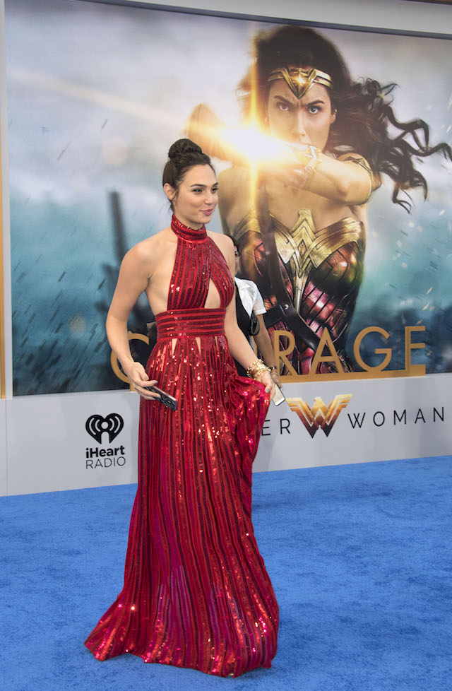 """Actress Gal Gadot attends the world premiere of """"Wonder Woman"""" at the Pantages on May 25, 2017 in Hollywood, California. / AFP PHOTO / VALERIE MACON (Photo credit should read VALERIE MACON/AFP/Getty Images)"""