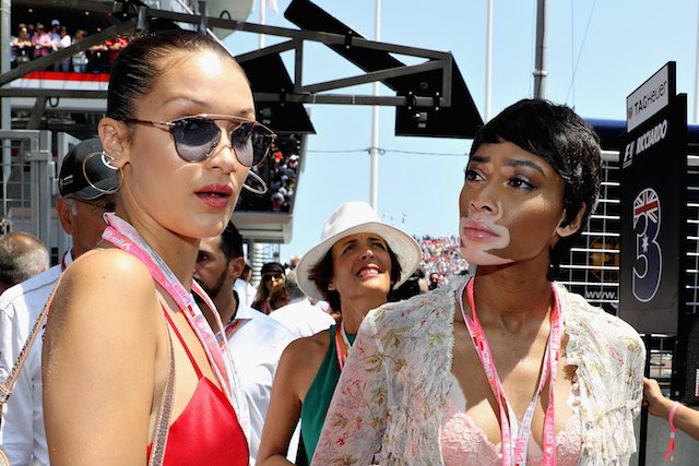 MONTE-CARLO, MONACO - MAY 28: Supermodels Bella Hadid and Winnie Harlow on the grid during the Monaco Formula One Grand Prix at Circuit de Monaco on May 28, 2017 in Monte-Carlo, Monaco. (Photo by Mark Thompson/Getty Images)
