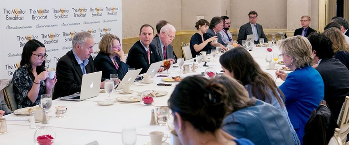 "Rep. Adam Schiff, ranking Democrat on the House Intelligence Committee speaks to reporters at a breakfast sponsored by the Christian Science Monitor on May 24, 2017"" Courtesy Christian Science Monitor"