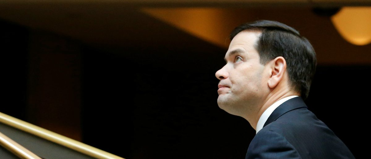 U.S. Senator Marco Rubio (R-FL) departs after a full-Senate briefing by Deputy U.S. Attorney General Rod Rosenstein at the U.S. Capitol in Washington, U.S. May 18, 2017. REUTERS/Jonathan Ernst
