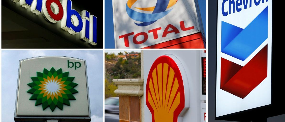 FILE PHOTO - A combination of file photos shows the logos of five of the largest publicly traded oil companies; BP, Chevron, Exxon Mobil, Royal Dutch Shell, and Total.  REUTERS/File Photo - RTS120N7
