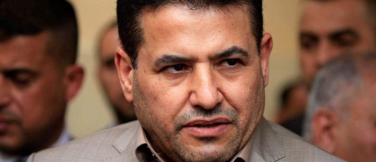 Iraq's Interior Minister Qasim al-Araji speaks during a media conference with Iraqi Defense Minister Arfan al-Hayali (not pictured) in Najaf, Iraq May 3, 2017. REUTERS/Alaa Al-Marjani