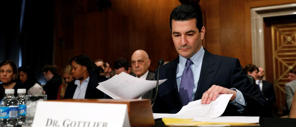 Dr. Scott Gottlieb testifies before a Senate Health Education Labor and Pension Committee confirmation hearing on his nomination to be commissioner of the Food and Drug Administration on Capitol Hill in Washington, D.C., U.S. April 5, 2017. (REUTERS/Aaron P. Bernstein)