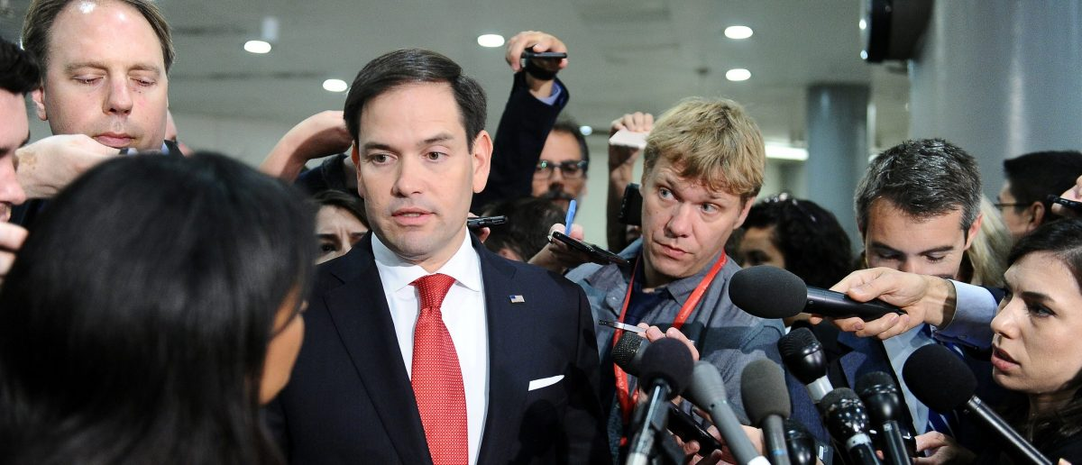 Florida Republican Sen. Marco Rubio speaks to the media after Deputy U.S. Attorney General Rod Rosenstein's classified briefing for the full U.S. Senate on President Donald Trump's firing of FBI Director James Comey in Washington May 18, 2017. REUTERS/Mary F. Calvert