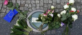 Flowers as a tribute for victims of Monday's suicide bombing at Manchester Arena in the English city of Manchester are seen in front of the British embassy in Berlin, Germany May 23, 2017. REUTERS/Fabrizio Bensch