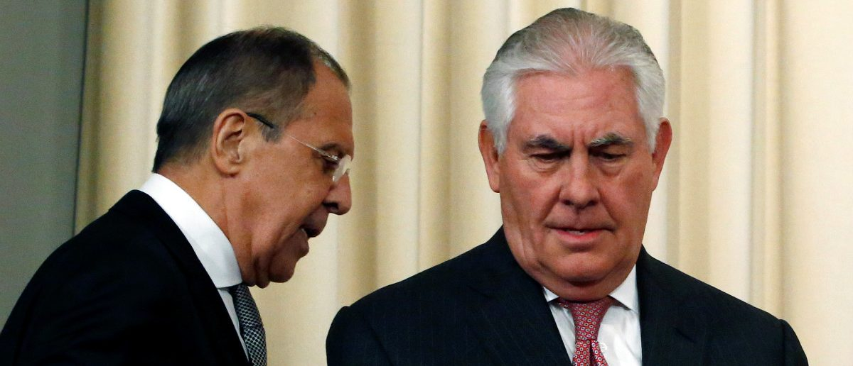 Russian Foreign Minister Sergei Lavrov and U.S. Secretary of State Rex Tillerson. REUTERS/Sergei Karpukhin
