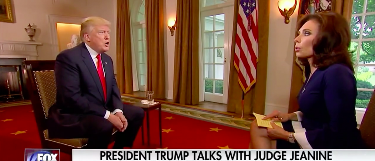 Screen Shot Trump With Judge Jeanine (Fox News: May 14, 2017)