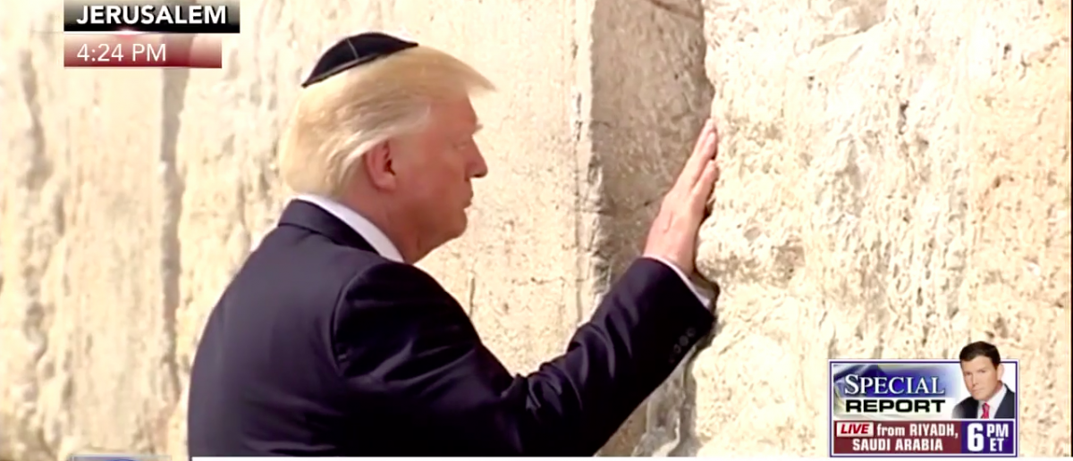 Screen Shot Trump Prays At Western Wall (Fox News: May 22, 2017)