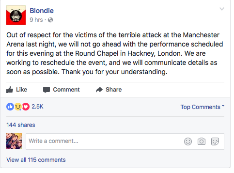 Blondie Facebook post (photo by: Facebook Screenshot)