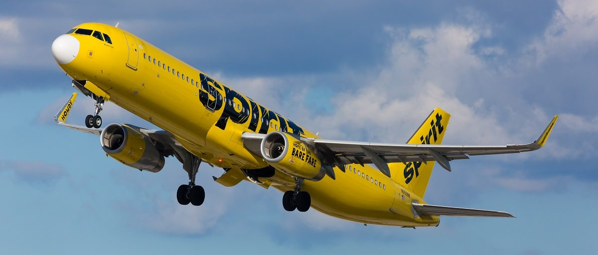 Fort Lauderdale, Florida - USA, February 25, 2017: A Spirit Airlines A321 departing the Fort Lauderdale/Hollywood International Airport. Spirit Airlines has its operating base in Fort Lauderdale. (Carlos Yudica/Shutterstock)