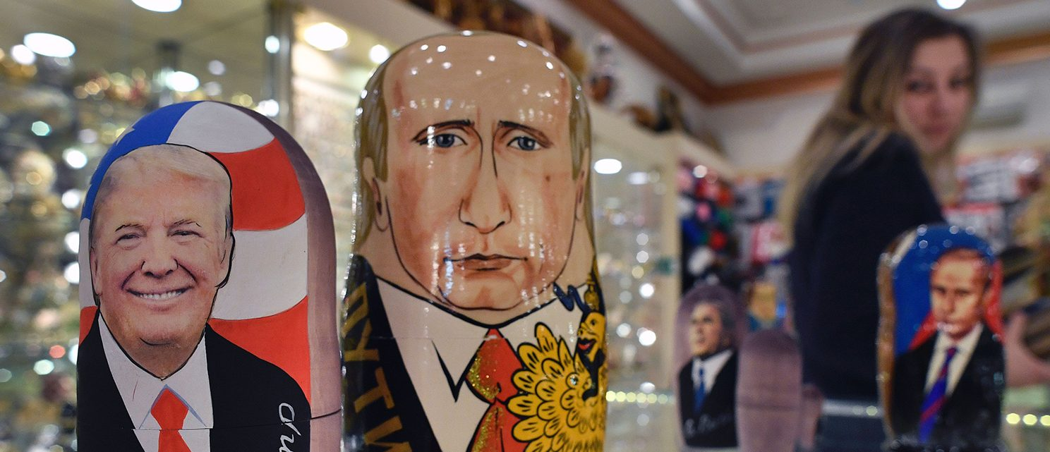Traditional Russian wooden nesting dolls, Matryoshka dolls, depicting US President-elect Donald Trump (L) and Russian President Vladimir Putin are seen at a gift shop in central Moscow on January 16, 2017, four days ahead of Trump's inauguration. (PHOTO: Getty Images/AFP/Alexander NEMENOV )