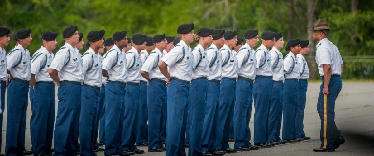 U.S. Army Infantry soldiers-in-training assigned to Alpha Company, 1st Battalion, 19th Infantry Regiment, 198th Infantry Brigade, conduct their 'Turning Blue Ceremony' where they put on their distinctive blue cords identifying them as infantrymen May 18, 2017, at Sand Hill's Pomeroy Field. Names obscured for personnel security. (Photo by Patrick A. Albright, Maneuver Center Photographer)