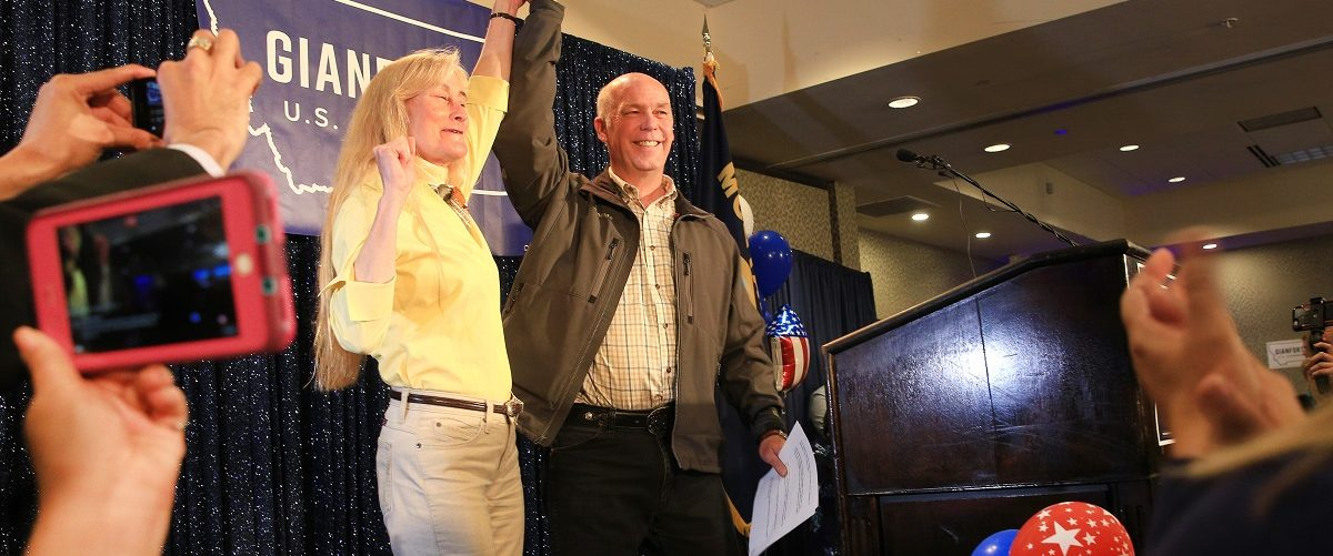 Republican Greg Gianforte celebrates with supporters after being declared the winner at a election night party for Montana's special House election against Democrat Rob Quist at the Hilton Garden Inn on May 25, 2017 in Bozeman, Montana. Gianforte won one day after being charged for assaulting a reporter. The House seat was left open when Montana House Representative Ryan Zinke was appointed Secretary of Interior by President Trump on May 25, 2017 in Bozeman, Montana. Janie Osborne/Getty Images.