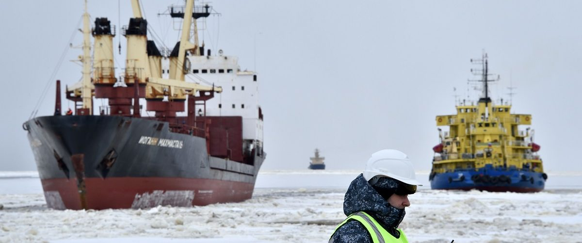 A picture taken on May 5, 2016 shows the icebreaker Tor (R) at the port of Sabetta in the Kara Sea shore line on the Yamal Peninsula in the Arctic circle, some 2450 km of Moscow. Yamal LNG -- which is set to be launched in 2017 -- is a liquefied natural gas plant with a planned capacity of 16.5 million tonnes per year and is valued at $27 billion. It is located in on the Yamal peninsula, an Arctic region of Siberia that is a key Russian oil and gas producing region. Kirill Kudryavtsev/AFP/Getty Images.