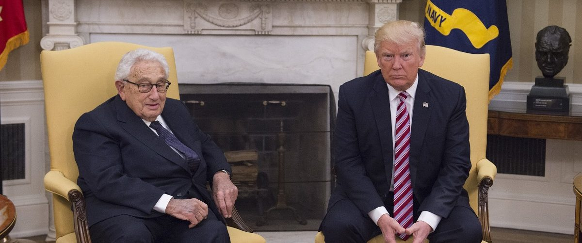 President Donald Trump meets with former Secretary of State Henry Kissinger in the Oval Office at the White House on May 10, 2017 in Washington, DC. Molly Riley-Pool/Getty Images.