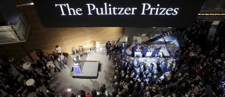 The largest-ever gathering of Pulitzer Prize recipients gather for a celebration honoring the centennial of the Pulitzer Prize at the Newseum in Washington DC January 28, 2016. REUTERS/Joshua Roberts