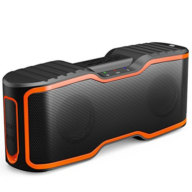 Normally $170, this bluetooth speaker is 78 percent off today. It is available in both orange and green (Photo via Amazon)