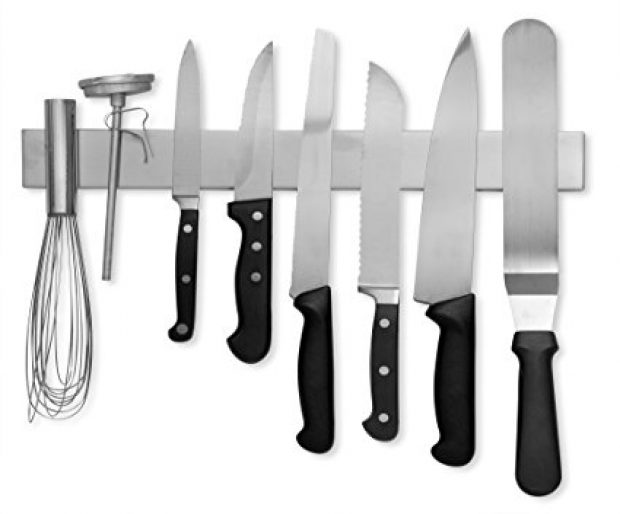 Normally $30, this magnetic knife bar is 43 percent off (Photo via Amazon)
