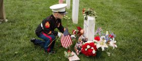 Christian Jacobs Visiting His Father's Grave At Arlington National Cemetery (Photo: Brittany Jacobs)