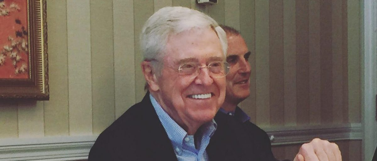 Charles Koch addresses reporters at The Broadmoor Hotel in Colorado Springs (Robert Donachie/Daily Caller News Foundation)
