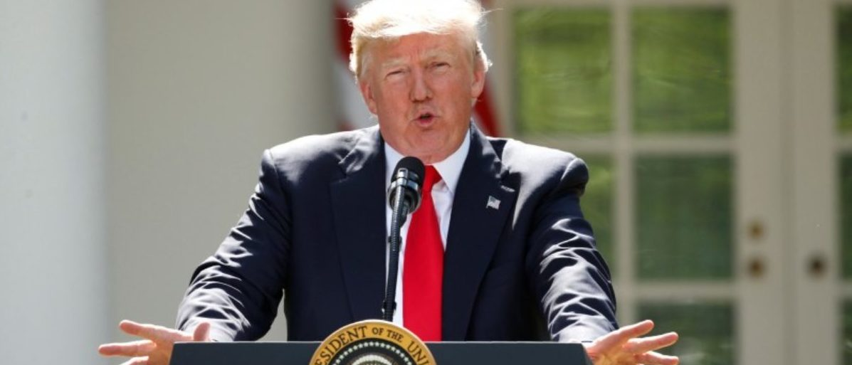 FILE PHOTO: U.S. President Donald Trump announces his decision that the United States will withdraw from the Paris Climate Agreement, in the Rose Garden of the White House in Washington, U.S., June 1, 2017. REUTERS/Kevin Lamarque/File Photo