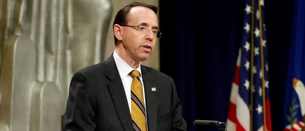 FILE PHOTO: Deputy U.S. Attorney General Rod J. Rosenstein speaks during National Missing Children's Day at the Department of Justice in Washington, U.S., May 24, 2017. REUTERS/Joshua Roberts